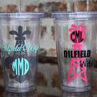 Personalized Tumbler - Cup - Senior - Monogram - Oilfield - Monogram Tumbler - Tumbler w/Name, Graduation Tumbler - Customized Tumbler