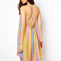 Starry Rainbow Swing Dress with Cami Back