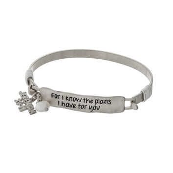 """For I know the plans I have for you."""" Silver Tone Bangle Bracelet"""