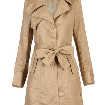 Apricot Long Sleeve Belt Trench Coat