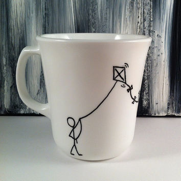 Kite flyer Upcycled Coffee Mug