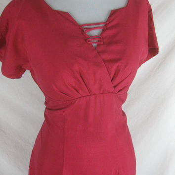 1950s 1960s Designer Young Cosmopoletan Best and Co. Vintage Reddish Cocktail Party Dress W 30