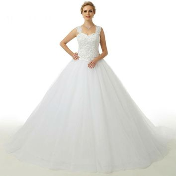 Beauty Tulle Lace up Beads Spaghetti Straps Sweetheart A Line Long Wedding Dress Wedding Gowns