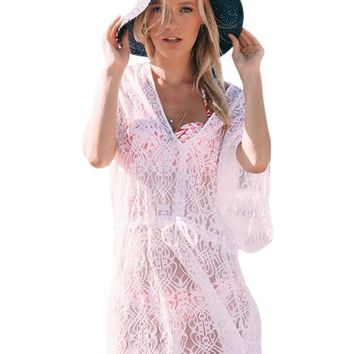 Chicloth White Elegant Lace Beach Cover Up Dress