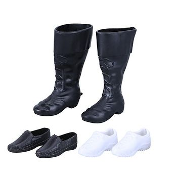 Dolls Accessories 3 Pairs Fashion Dolls Cups Shoes Sneakers Knee High Boots For Barbie Boyfriend Kids Gifts Children