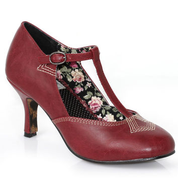 Burgundy Leatherette Closed Toe Gavi T-Strap Heels