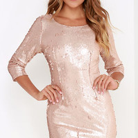 Swimming in Shimmer Matte Gold Sequin Dress