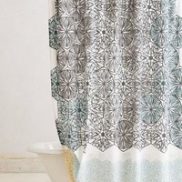 Kaleidoscope Patch Shower Curtain   by Anthropologie Grey One Size Shower Curtains