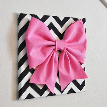 "MOTHERS DAY SALE Wall Decor - Large Pink Bow on Black and White Chevron 12 x12"" Canvas Wall Art- Baby Nursery Wall Decor- Zig Zag"