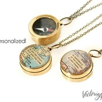 Small Working Compass Necklace with Custom Map and Personalized Quote - Brass or Silver