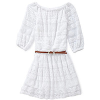 GB Girls 7-16 Scallop Lace Belted Dress - White