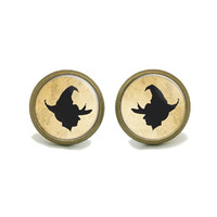Halloween Witch Earring- Witch Hat Stud Earrings-Holiday Office Party Jewelry