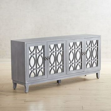 "Mirella Gray 72"" Mirrored TV Stand"