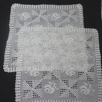 Pair of White, Filet Crocheted Lace Dresser or Table Doilies with Rose and Pinwheel Pattern, Size 13.5 x 12.5