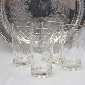 Crystal Tumblers / SET of 4 / Mid Century Barware / Wedding Gift