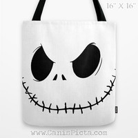 Jack Skellington Nightmare Before Christmas Graphic Print Tote Bag Movie Carryall for Her Halloween Black White Evil Grin Autumn Fall Face