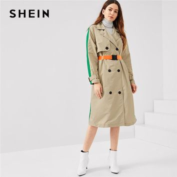 SHEIN Multicolor Office Lady Highstreet Colorblock Pocket Double Breasted Trench Coat 2018 Autumn Elegant Women Coats Outerwear