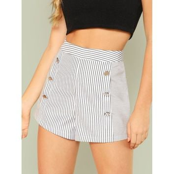 Button Embellished Striped Shorts