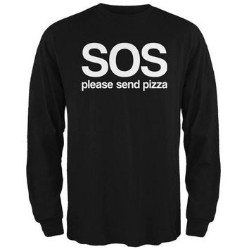 PEAPGQ9 SOS Please Send Pizza Mens Long Sleeve T Shirt