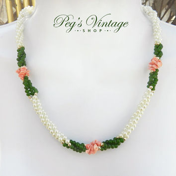 Vintage Pearl With Jade & Coral Braided Necklace//Twisted Faux Pearl Bead Necklace, Wedding Fashion Jewelry
