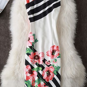 Streetstyle  Casual Round Neck Floral Striped Bodycon Dress
