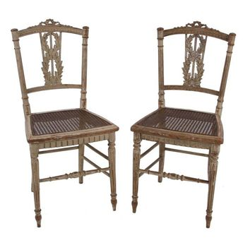 Pre-owned Louis XVI Petite Chairs, 18th C. - A Pair