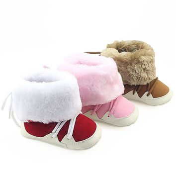 Newborn Baby Boys Girls Shoes Winter Prewalkers Soft Sole Boots Shoes Infant Toddler Kids Faux Fur Lace Boots Crib Booty