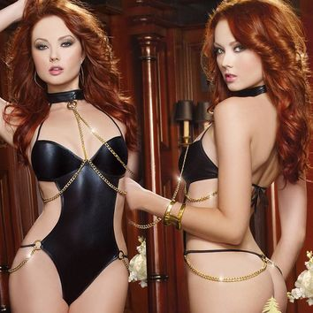 Cute On Sale Hot Deal Black Chain One-piece Sexy Backless Exotic Lingerie [6595884035]