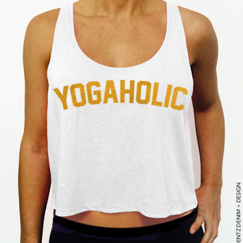 Yogaholic - White with Gold Crop Tank Top