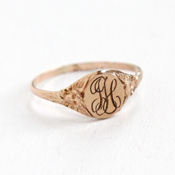 Antique Monogrammed LH Gold Filled Ring - Vintage Size 10.5 Early 1900s Art Nouveau Art Deco Woman Silhouette Shoulder Jewelry