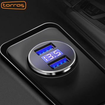 TORRAS Dual USB Car Charger Digital Display LED 5V/3.4A Fast Charging Phone Charger For iPhone X 8 Samsung S8 Plus USB Charger