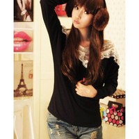 Off the Shoulder Long Sleeve Women Lace Cotton T-shirt As Picture One Size @WH0364ap $9.99 only in eFexcity.com.