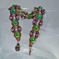 Green Copper Criss Cross Beaded Bracelet Handmade Fashion Accessory