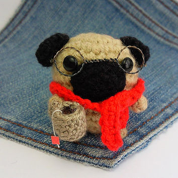 Amigurumi Pug, crochet Pug with glasses scarf and a tiny cup of Tea! Smart Pug plushie,crochet Pug.Smart dog