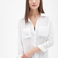 FOREVER 21 Chiffon Pocket Shirt