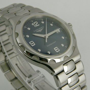 Swiss Longines Conquest blue dial quartz date SS bracelet dressing watch