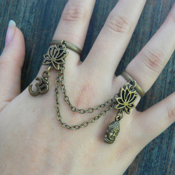 zen double ring  lotus flowers ohm symbol and buddha chained double ring
