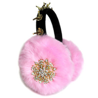 Pink ear muffs/faux fur earmuffs/Scream Queens/Chanel 3/embellished earmuffs/ear warmers/plush earmuffs/fluffy earmuffs/jewel earmufs/