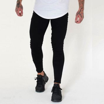 Men Super Skinny Stretch Denim Pants Sexy Black Jeans Designer Distress Rip Stylish Jeans Trousers