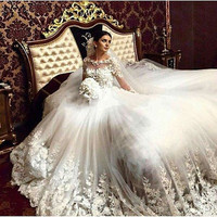 Princesa Cathedral Train Vintage Wedding Dress Lace Appliques Long Sleeve Tulle