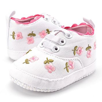 Baby Shoes Infant For Girls Kids Classic Sneakers Soft Bottom Anti-slip T-tied Flower Embroidery