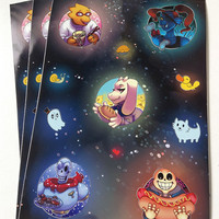 Undertale A5 Sticker Sheet - Alphys, Undyne, Toriel, Papyrus, Sans, Napstablook, Thundersnail - 11 Vinyl Stickers, Galaxy / Space Background