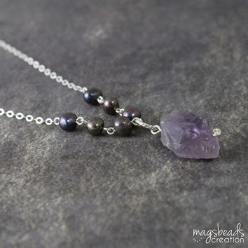 Raw Amethyst Necklace. Rough Stone Jewelry, Chic, Unique, One-of-a-kind, Purple Necklace, Gifts For Her, Nature, Handmade OOAK Jewelry