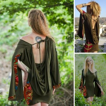 Summer Women Medieval Renaissance Vintage Hooded Sexy Backless Irregular Flare Sleeve Dance Style Dress Dark Forest Green Pixie