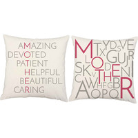 Set of 2 Mother Anagram Pillows - Mother's Day Pillow Covers with or without Cushion Inserts - Mother's Day Gift, Mother's Day Print, Family
