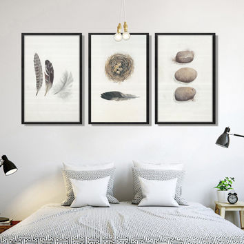 Modern Abstract Feather Bird Nest Bowl A4 Art Print Poster Canvas Painting Wall Pictures for Living Room Home Decor AB015