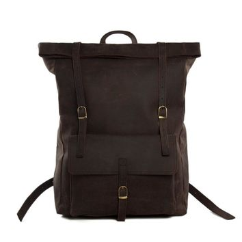 ROCKCOW Roll Top Genuine Leather Backpack Travelling Backpack Weekend Bag Dropshipping MG31