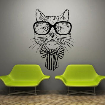 Wall decal decor decals art cat film movie smart glasses mustache bow cartoon scientist (m709)
