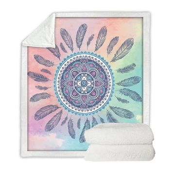 BeddingOutlet Dreamcatcher Throw Mandala Boho Bohemian Velvet Plush Pink and Blue Blanket