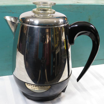 Farberware Percolator 4 Cup Vintage Electric Coffee Pot Mid Century Modern